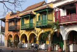 Colourfully painted colonial buildings in Old Town Cartagena.