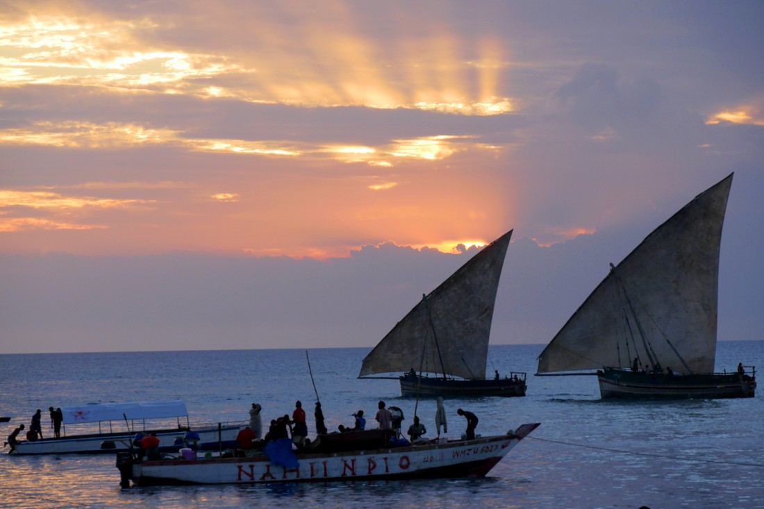 Traditional sails in the sunset, Stone Town