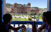 Enjoying a coffee overlooking the Plaza de Armas,  Cusco