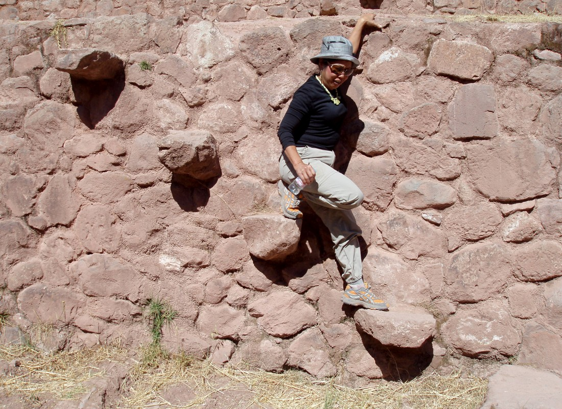 Stone ladder at the Inca agricultural terraces, Moray,  Peru
