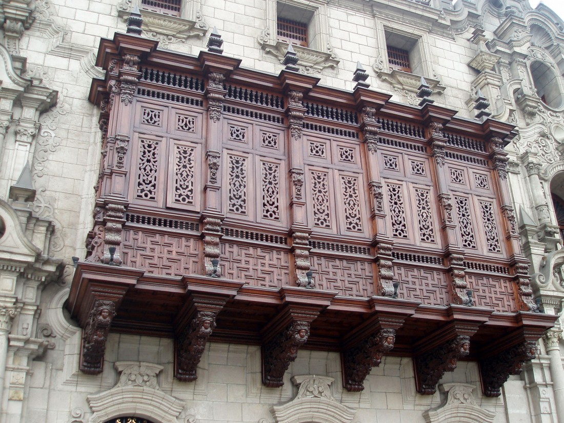 Lima's famous wooden covered-balconies,  Peru
