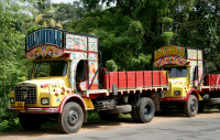 Indian trucks are often extravagantly decorated with paint and bling.
