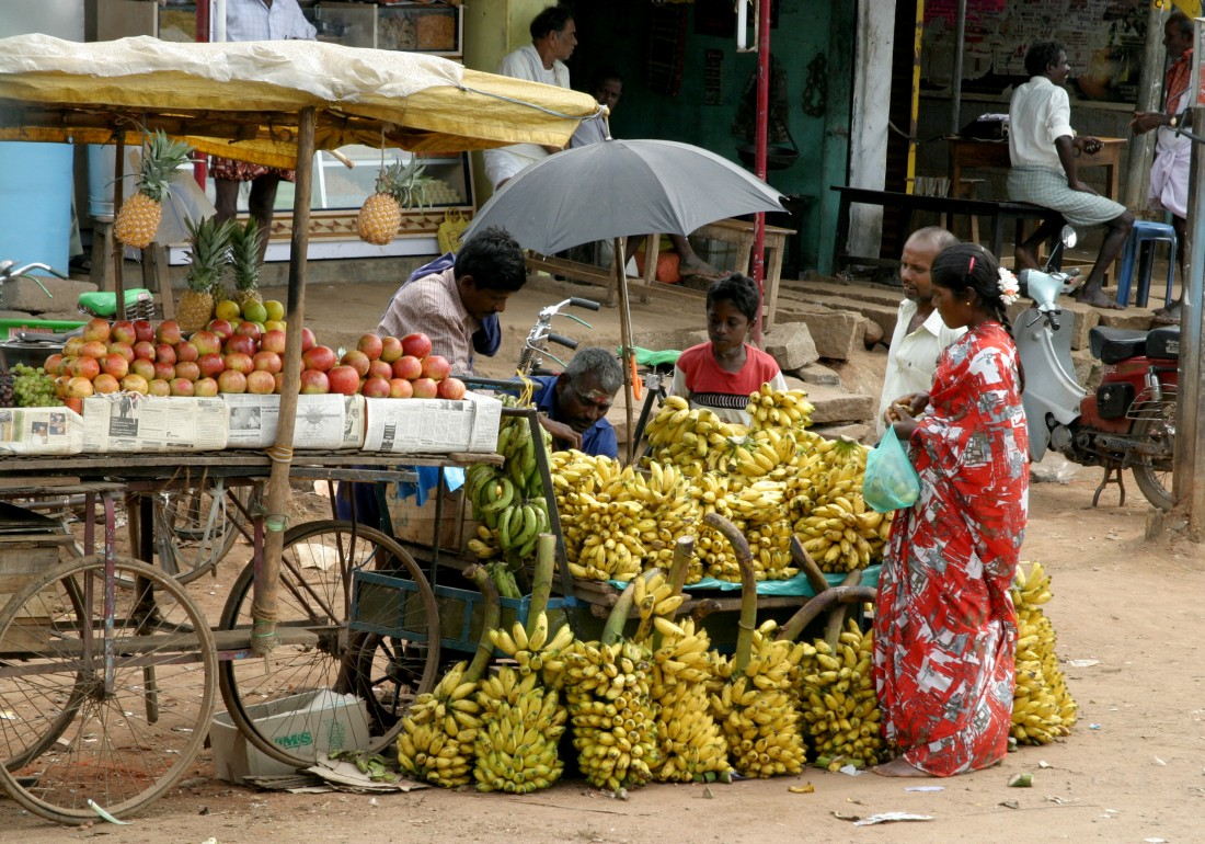 Fruit stall by the temple