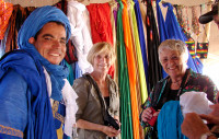 Getting scarves for our camel ride,  Morocco