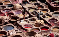 Ancient leather dyeing vats,  Fes
