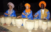 Tuareg drummers entertain us at our desert camp in the Merzouga Dunes