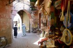 The winding alleys of a Medina,  Morocco