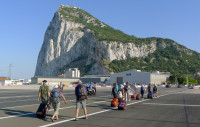 We walk across the airport runway to cross from Spain to Gibraltar